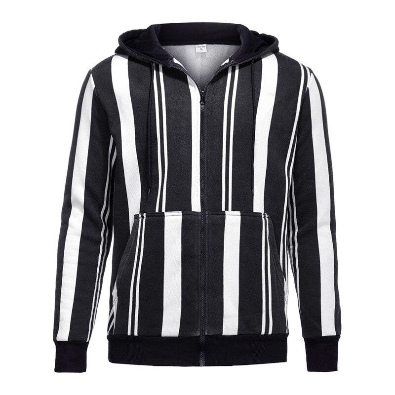 New Men's Slim Fit Hooded Coat Stripe Jacket Winter Warm Outwear Blazer Top