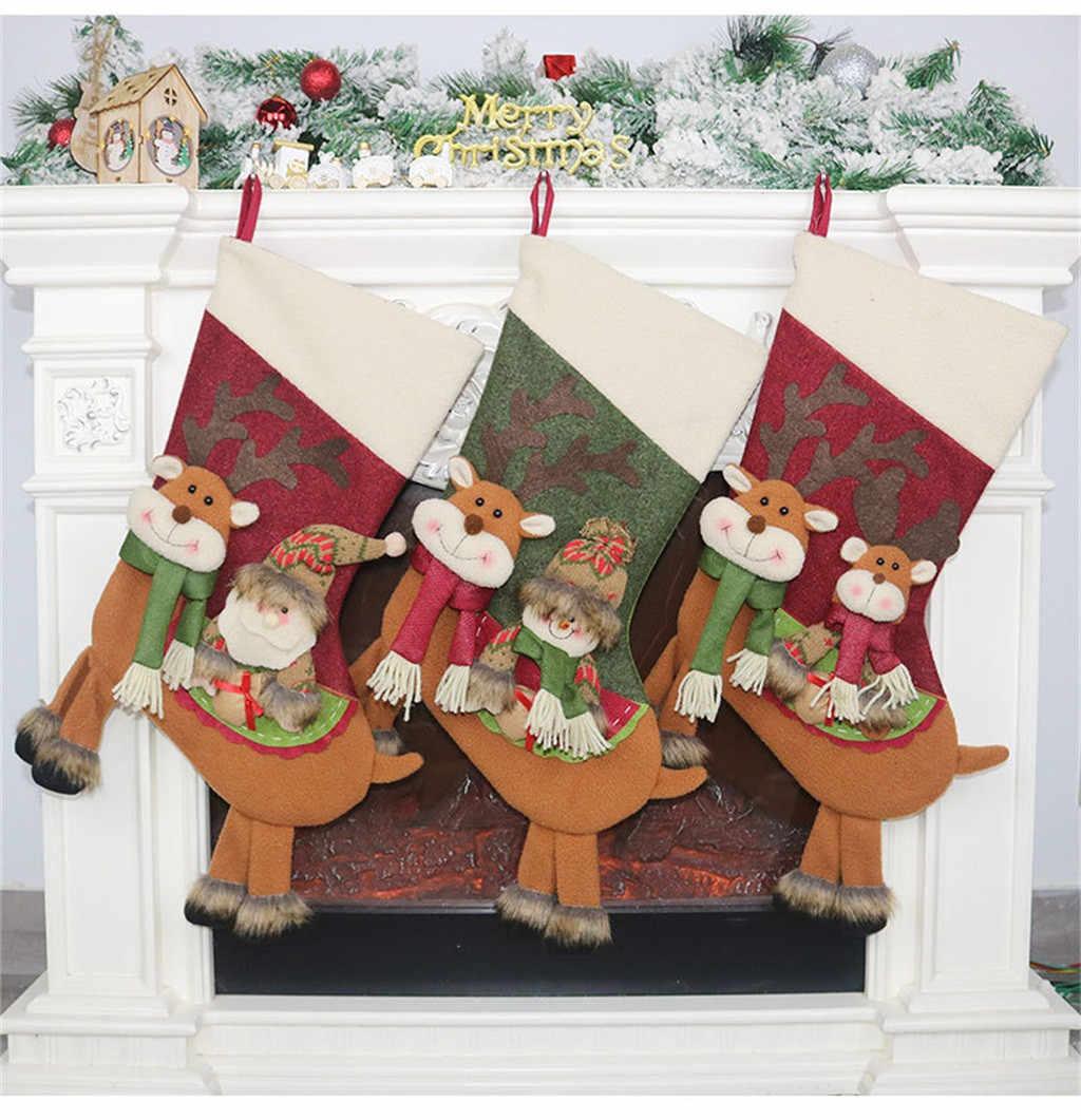 Large Santa Christmas Stocking With Year