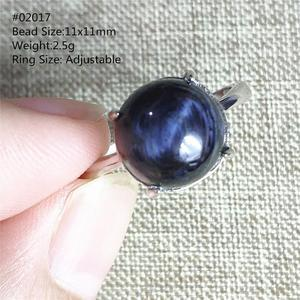 Image 4 - Genuine Natural Blue Pietersite Gemstone Chatoyant Adjustable Round Ring 11x11mm From Namibia 925 Silver Women Men AAAAA