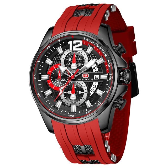 MINI FOCUS Fashion Men's Watches Top Brand Luxury Quartz Waterproof Sports Clock Wristwatch Relogio Masculino Red Silicone Strap 3