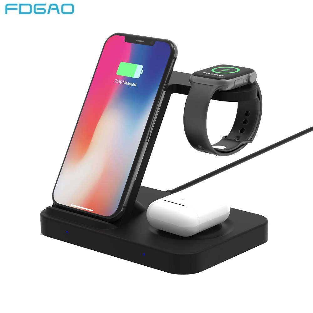 3 in 1 15W Fast Wireless Charger For iPhone 11 Pro XS Max Samsung S10 S20 Buds Charging Dock Station For Apple Watch Airpos Pro|Wireless Chargers| |  - title=