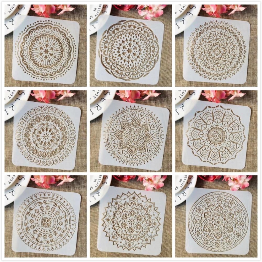 9Pcs/Set 15*15cm Mandala Round Geometry DIY Layering Stencils Painting Scrapbook Coloring Embossing Album Decorative Template