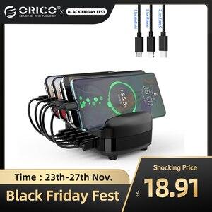 Image 1 - ORICO USB şarj istasyonu Dock tutucu ile 40W 5V2.4A * 5 USB şarj ücretsiz USB kablosu iphone ipad için PC Kindle Tablet