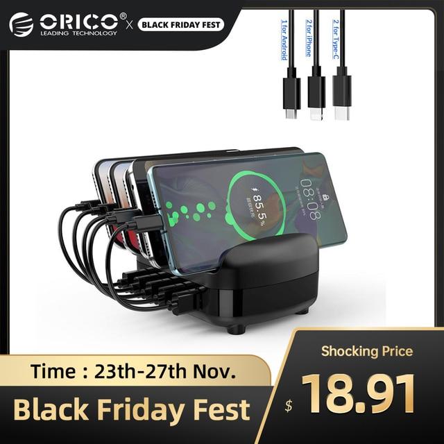 ORICO USB şarj istasyonu Dock tutucu ile 40W 5V2.4A * 5 USB şarj ücretsiz USB kablosu iphone ipad için PC Kindle Tablet
