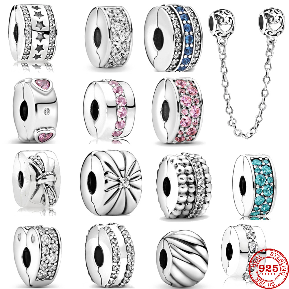 925 Sterling Silver Beads Charm Shining Clips Pave CZ Charms Fit Original Pandora charms silver 925 Bracelets Women DIY Jewelry(China)