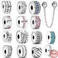 Серебряные бусины 925 пробы браслеты с подвесками блестящие заколки паве ЧР, очаровательные, подходят к оригиналу, соответственные Европейс...