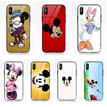 Popular Cute Mickey Mouse For Apple iPhone 5 5C 5S SE 6 6S 7 8 Plus X XS Max XR Soft TPU Frame+Tempered Glass Capa Cover Case(China)