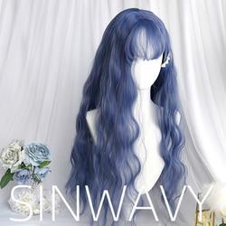 Cinza roxo azul lolita peruca harajuku fada cosplay franja encaracolado 65cm longo doce franja adulto meninas cabelo sintético