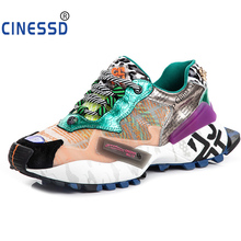 CINESSD Breathable Mesh Women Sneakers Summer Mixed Colors Snake Graffiti Shoes Lace-up Platform Woman Chaussures YK5