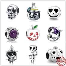 2020 novo halloween horror demônio abóbora crânio diabo original pandora charme pingente de prata 925 pulseira senhora diy fazer jóias