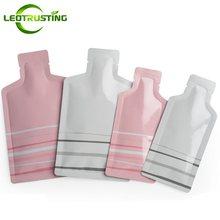 Sacos superiores abertos da folha de alumínio da forma da garrafa do rosa/branco de leotrusting do pó do champô