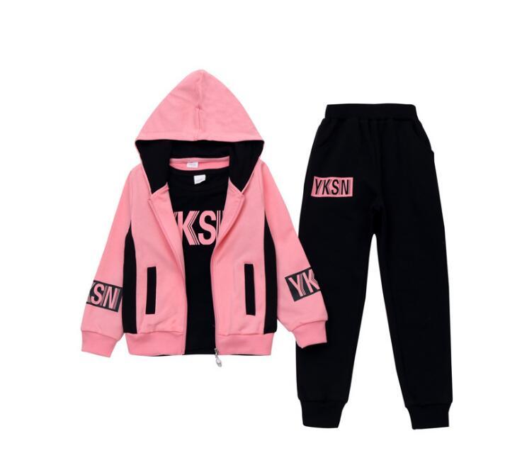 Odzież zestaw dziewczyny ubrania kurtka list zamek dzieci spodnie bluza z kapturem dzieci dres dla dziewczynek odzież ustawia Sport garnitur 19 wiosna