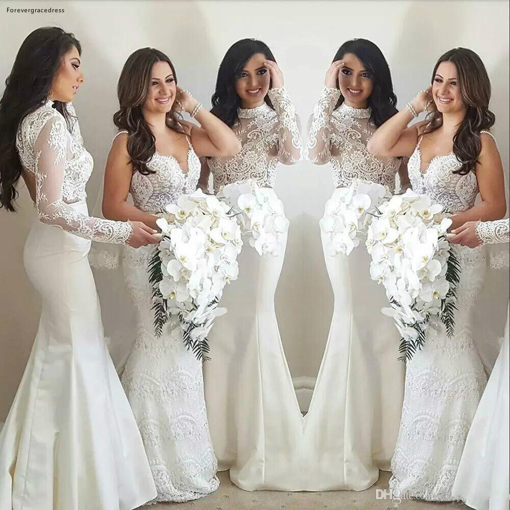 2019 Summer Spring   Bridesmaid     Dress   Mermaid White Lace Country Garden Formal Wedding Party Guest Maid of Honor Gown Plus Size