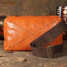 Simple vintage genuine leather men's chest bag fashion casual real cowhide weekend light waist packs shoulder messenger bag