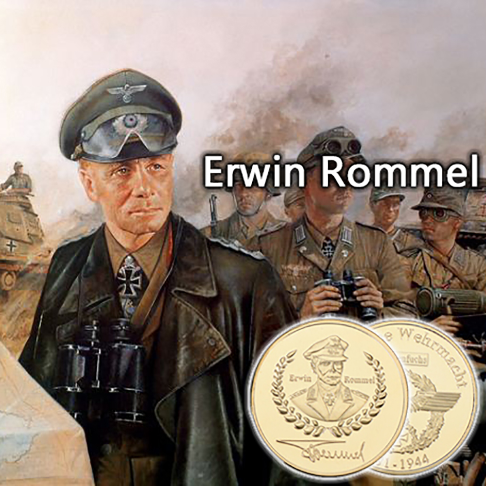 RH Gold Plated German General Erwin Rommel Commemorative Coins Collectibles For Business Gifts