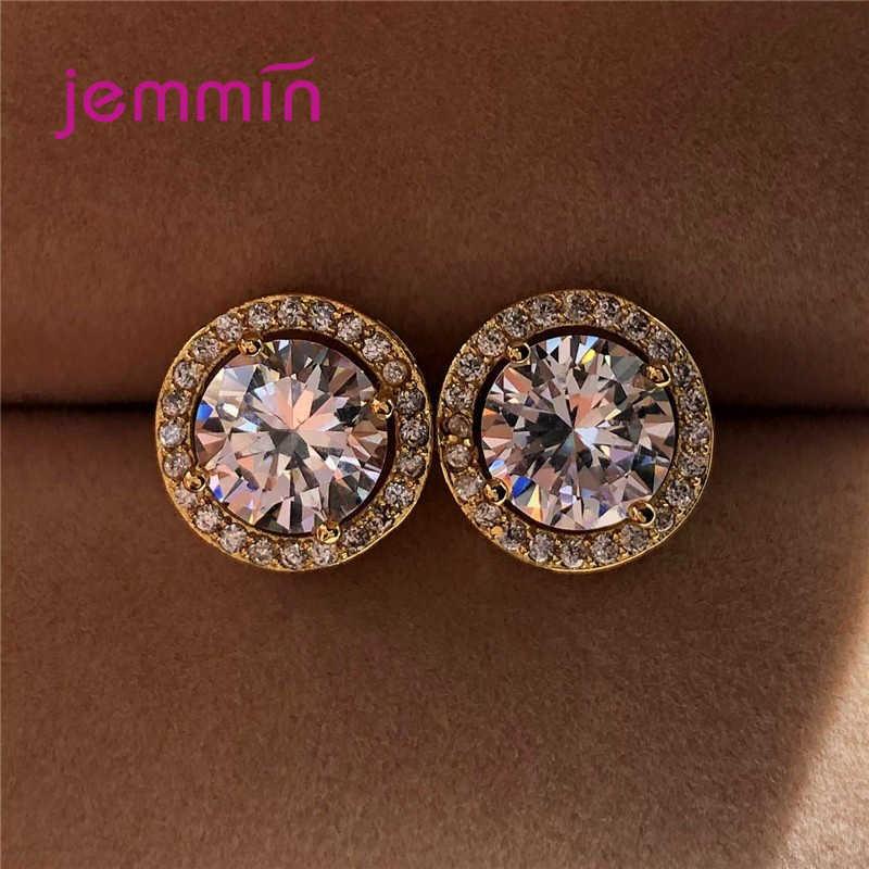 موضة جديدة فتاة المرأة ترصيع الأذن المستديرة حجر الراين التي تواجه 925 فضة أقراط مجوهرات خالية من الحساسية