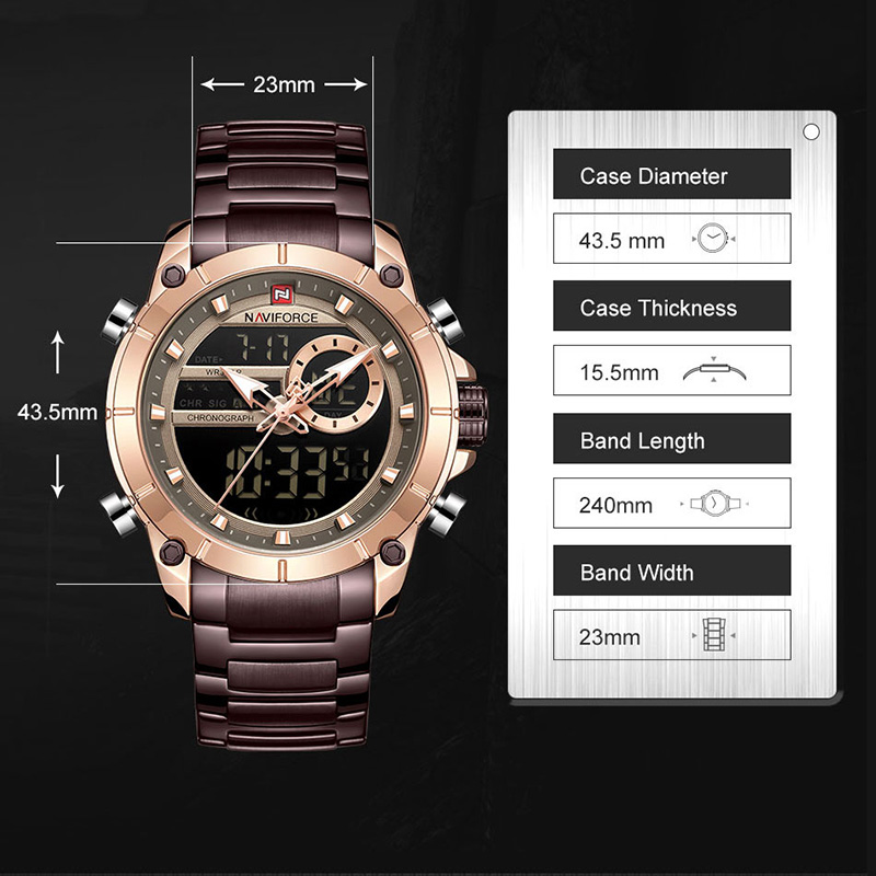 Image 3 - Naviforce Luxury Male Watch with Luminous Dial Digital Quartz Top Brand Man Watches 2019 Brand Luxury Men's Watch Dual Display-in Quartz Watches from Watches