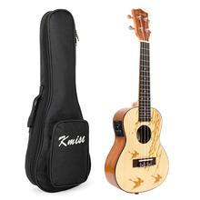 Kmise Ukelele Concert Ukulele  23 Inch 4 String Hawaii Guitar Electric Acoustic Solid Spruce Top with Swallow and Willow Pattern