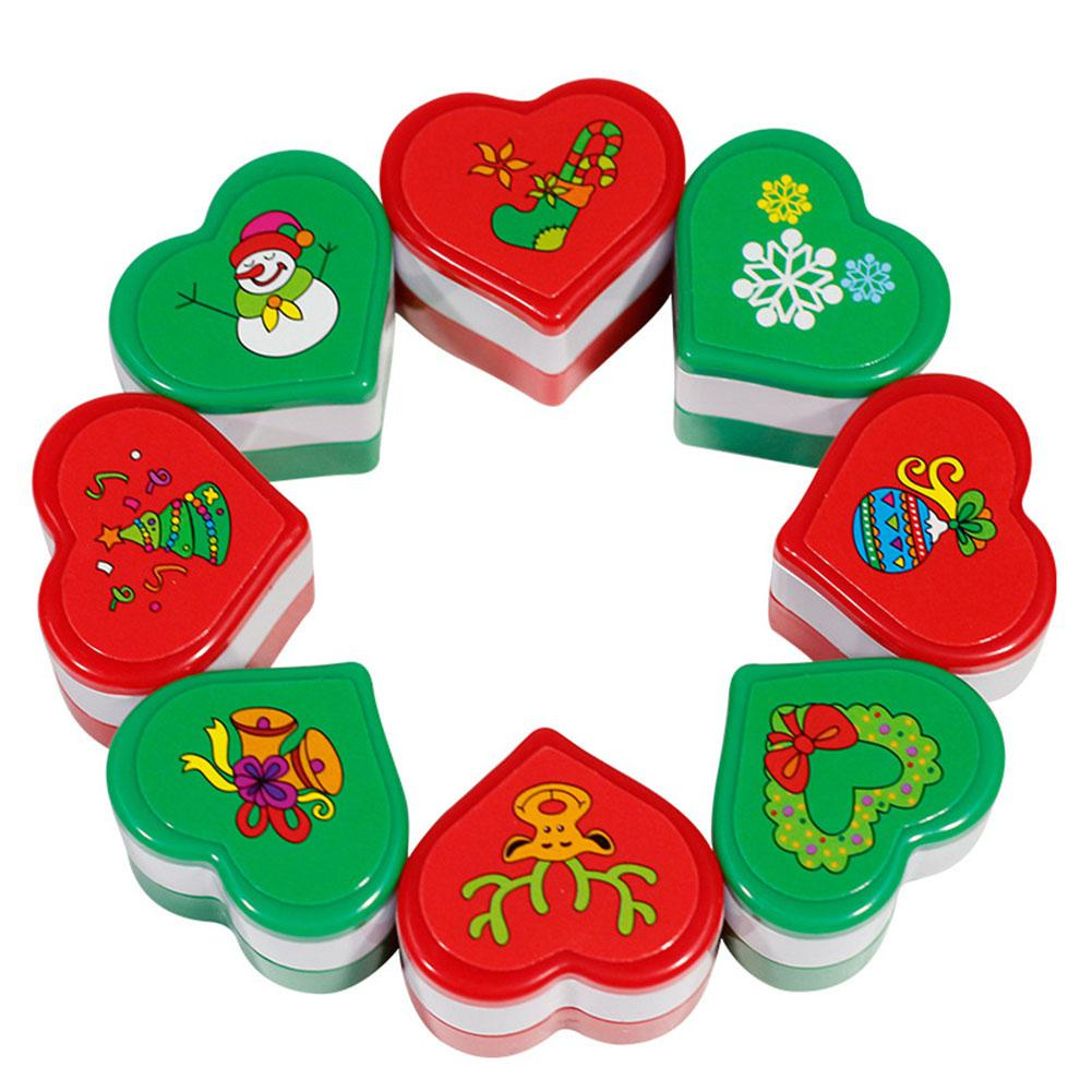 LeadingStar 24PCS Kids Cartoon Plastic Square Christmas Pattern Plastic Stamp
