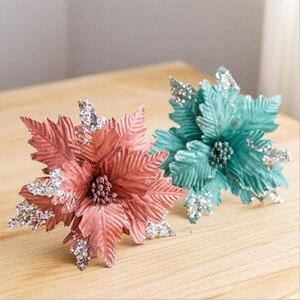 Искусственные цветы с блестками, бархатные Рождественские цветы ручной работы, рождественские украшения для дома, украшения для свадьбы