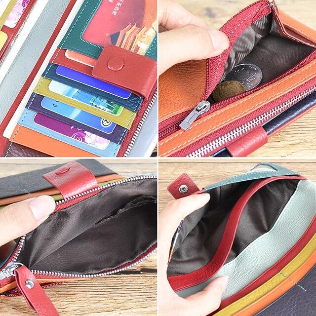 DICIHAYA portefeuille en cuir véritable souple porte-monnaie femme sac téléphone porte-carte porte-carte porte-carte vache couleur contrastée Billetera