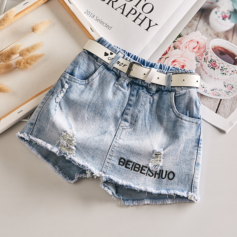 Girls Denim Shorts Summer 2021 New Korean Summer Clothes Baby Children Hole All-Match Culottes Hot Pants 1-12 Age Baby Clothing