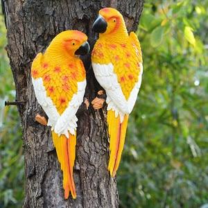 Image 2 - Resina papagaio estátua montado na parede diy árvore do jardim ao ar livre decoração escultura animal para escritório em casa jardim decoração ornamento