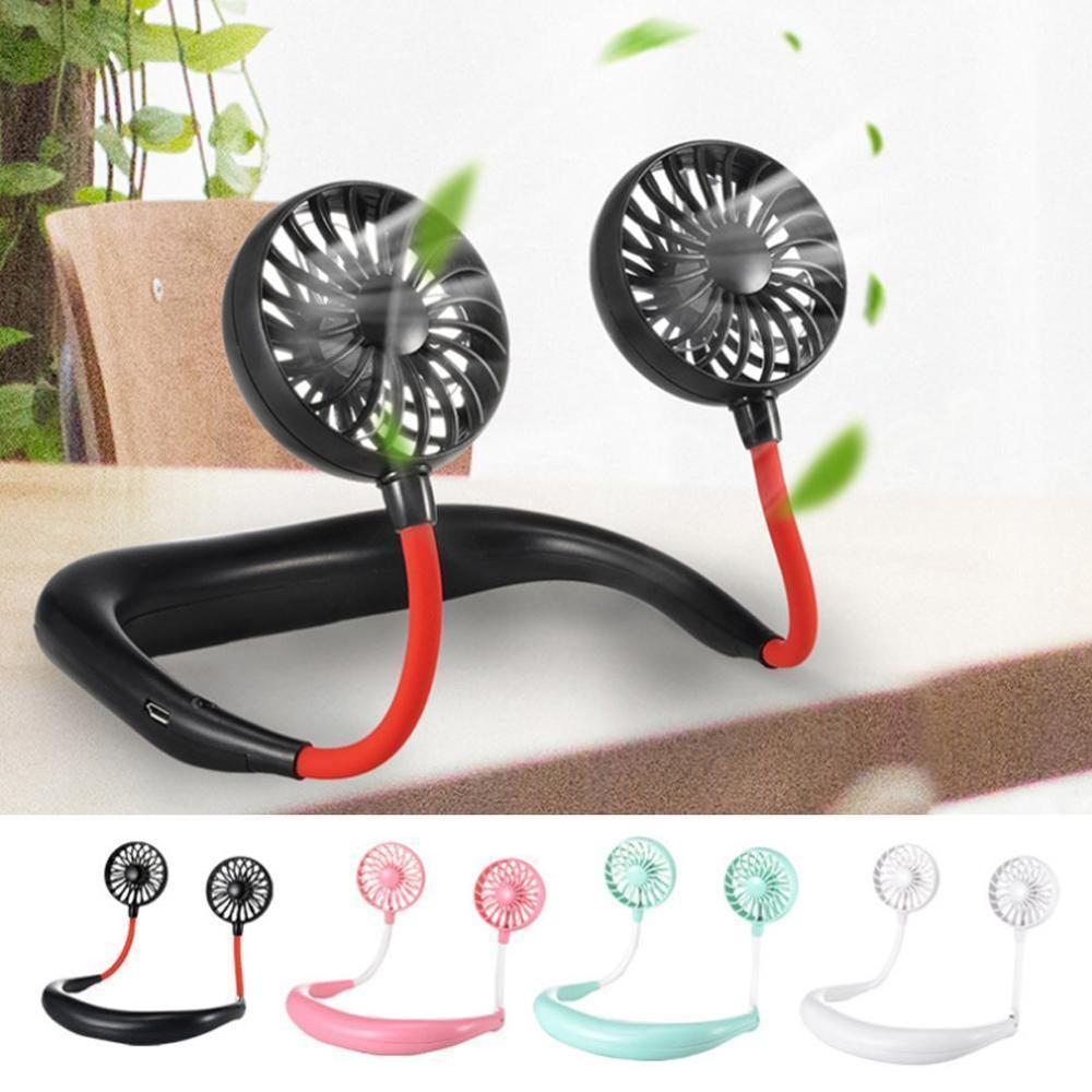 Cool Summer Portable Neck Fan Hands-free USB Mini Sports Fan Lazy Neck Hanging Style 3 Adjustable Speed Level Dual Cooling Fans