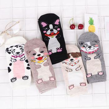 Women Socks Dog Animal Cartoon Pattern Cotton Boat Sock Summer Breathable Casual Sweet Girls Funny Korean Style Fashion