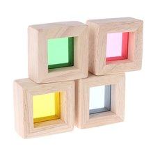 Радужные акриловые деревянные строительные блоки детские развивающие