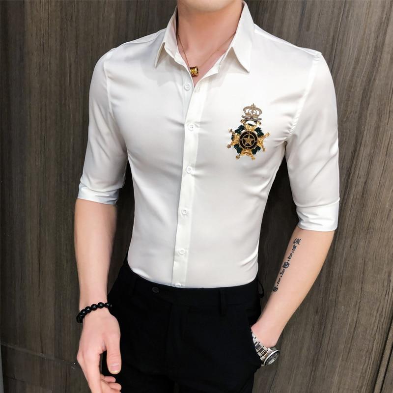 Streetwear Slim Fit Embroidery Decoration Half Sleeve Shirts Casual Shirt Men Blouses Korean Men Clothes 2020 Summer Men Shirt