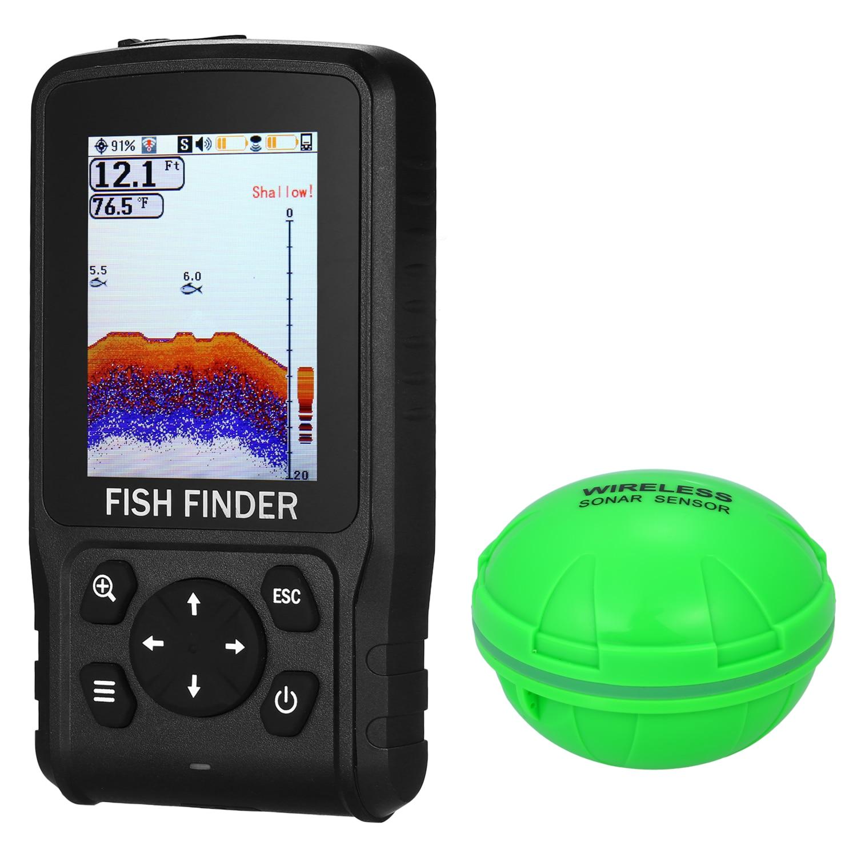 Беспроводной гидролокатор 118FT дальность глубины рыболовный искатель портативный 2,8 дюймов lcd рыболокатор лодка оборудование для подледной рыбалки - Цвет: Wireless only