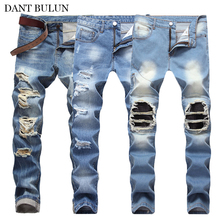 Men Jeans Ripped Holes Jeans Men Casual Slim Long Pants Men Denim Jeans Motorcycle Biker Trousers Summer Autumn Jeans Blue Black new designer dots print biker jeans men character ripped patchwork casual men s jeans pants 100