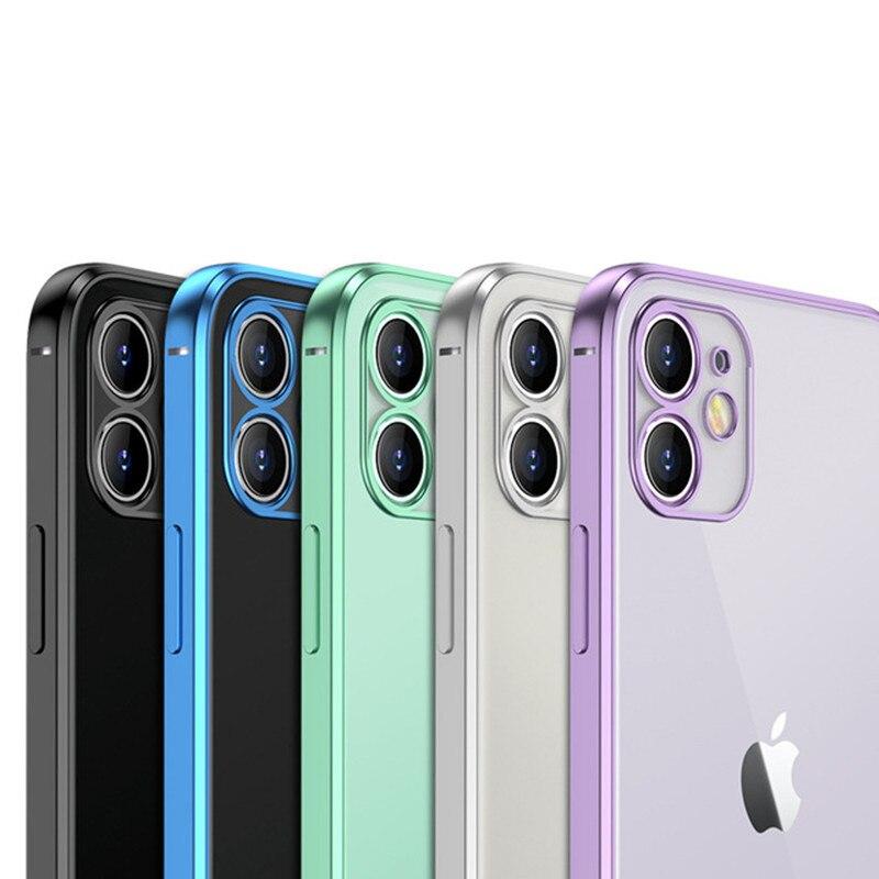 Роскошный прозрачный чехол с покрытием для телефона iPhone 12 11 Pro X XR XS Max Mini 7 8 Plus SE 2 2020, прозрачный силиконовый чехол с квадратной рамкой