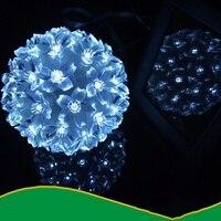 Бытовые солнечные световые гирлянды 50 светодиодный Цветок форма открытый свет водонепроницаемый новогодние гирлянды