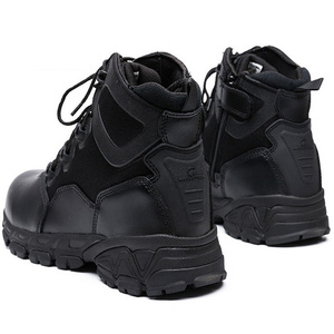 Image 4 - Military Combat Boots For Men Desert Genuine Leather Tactical Army Ankle Boots Casual Breathable Zipper Man Safety Working Shoes