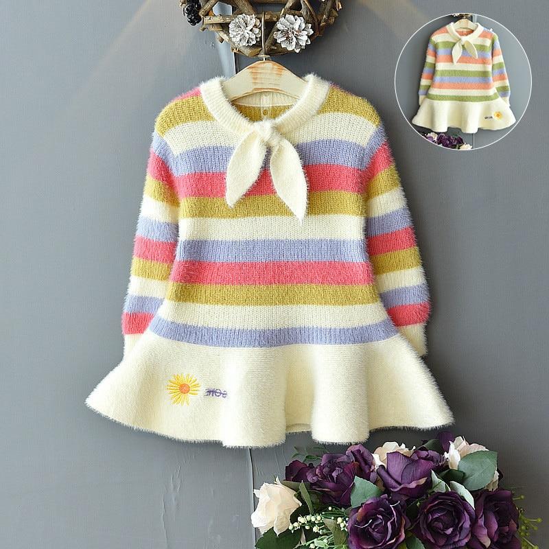 Girls winter sweater dress baby girl rainbow mink fleece warm dress knitted skirt girl bowknot cute striped fishtail dress