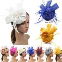 Newest Fashion Women Flower Hair Clip Feathers Small Mini Top Hat Wedding Fascinator Royal Ascot Race Accessories