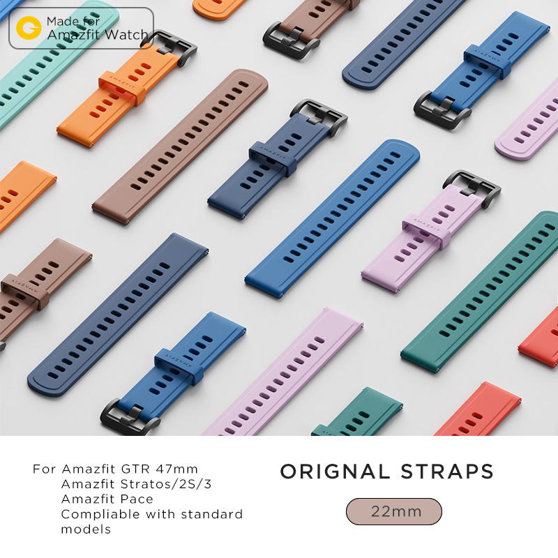 22MM Original Strap Huami Amazfit Smart Watch Strap For Xiaomi Original Amazfit Bip Pace Stratos GTR Watch Amazfit Smartwatch