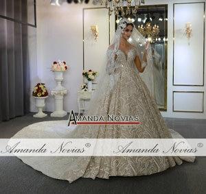 Image 4 - Mariage robe de mariee 2020 mangas compridas pesadas miçangas vestido de noiva de luxo