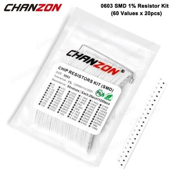 1200 шт. SMD 0603 Резисторы в ассортименте (60 значений x 20 шт.) 0 Ом-10 м ом 1/10 Вт 1% Высокоточный комплект сопротивления пленочного чипа