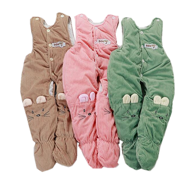 Winter Children Suspenders Toddler Pure Cotton Overalls Thickening Pants For Baby Girl Boy jumpsuit Pants Kid Clothes 1 3 Years in Pants from Mother Kids
