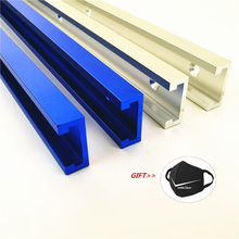 Aleación de aluminio t track Slot Miter Track Jig Fixture Router 300 400 500 600 800MM carpintería tornillo T Slider bloque de presión