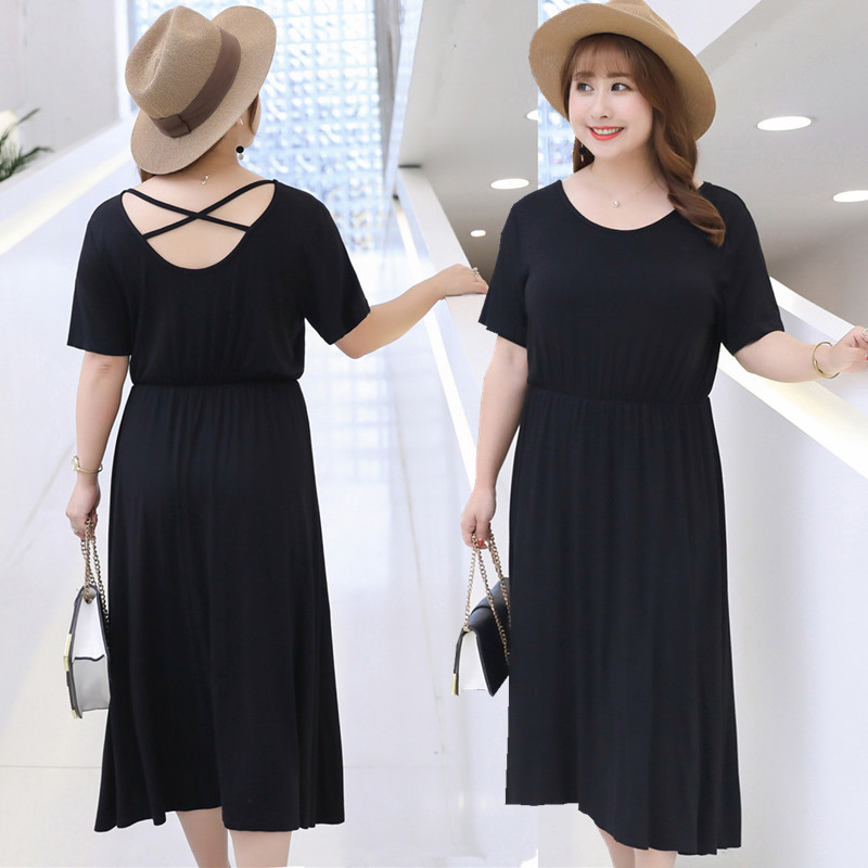 2019 Summer New Style Large Size Dress Elastic Waist Elasticity Skirt Fat Mm Clothing A Generation Of Fat Wholesale A075