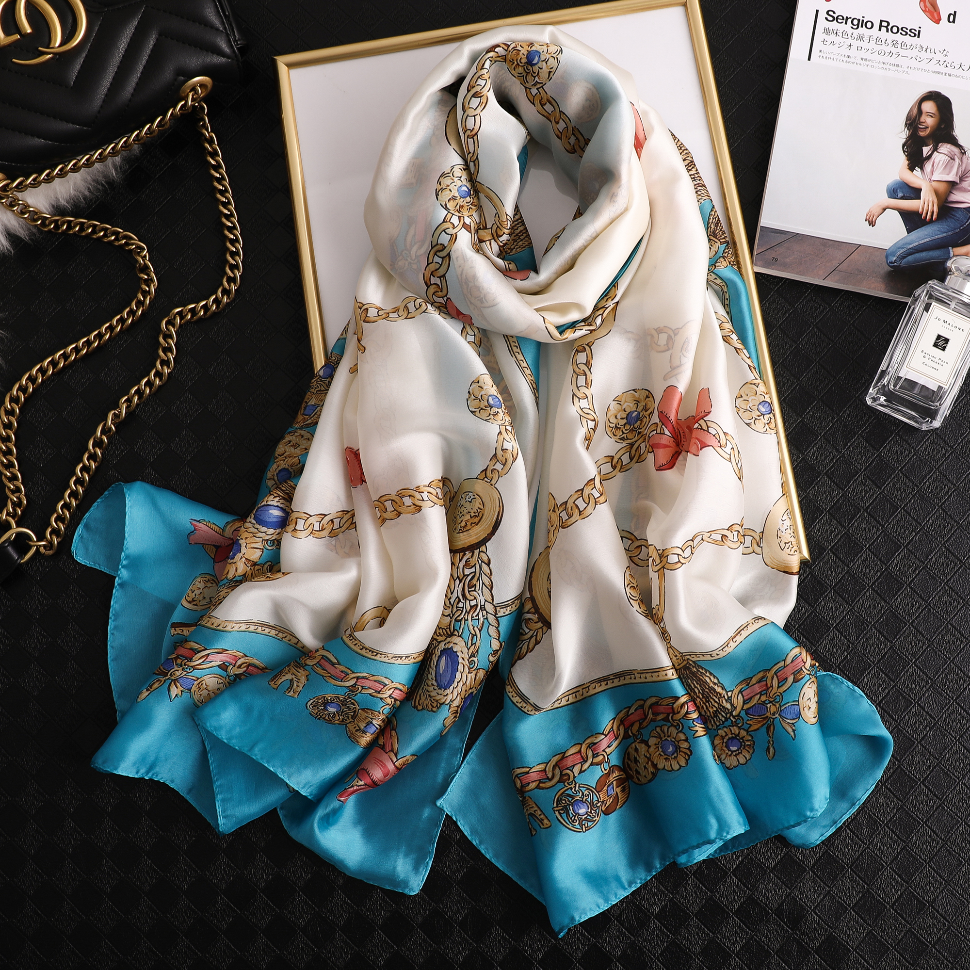 luxury summer women   scarf   FLOWER soft silk   scarves   female shawl Foulard Beach   wrap   bandanna cover-up pareo muffler free shipping