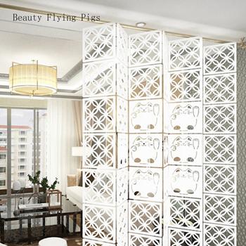 12 sztuk 29cm X 29cm dekoracji wnętrz mody ażurowy wzór wiszący parawan ścianka działowa pokój dekoracji wnętrz biały tanie i dobre opinie Beauty Flying Pigs Sztuczne dekoracyjne pokładzie Konstrukcja ramy Nowoczesne