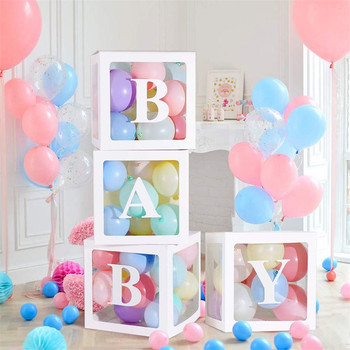 Transparent Name Age Box Girl Boy Baby Shower Decorations Baby 2 1st 1 One Birthday Party Decor Gift Babyshower Supplies