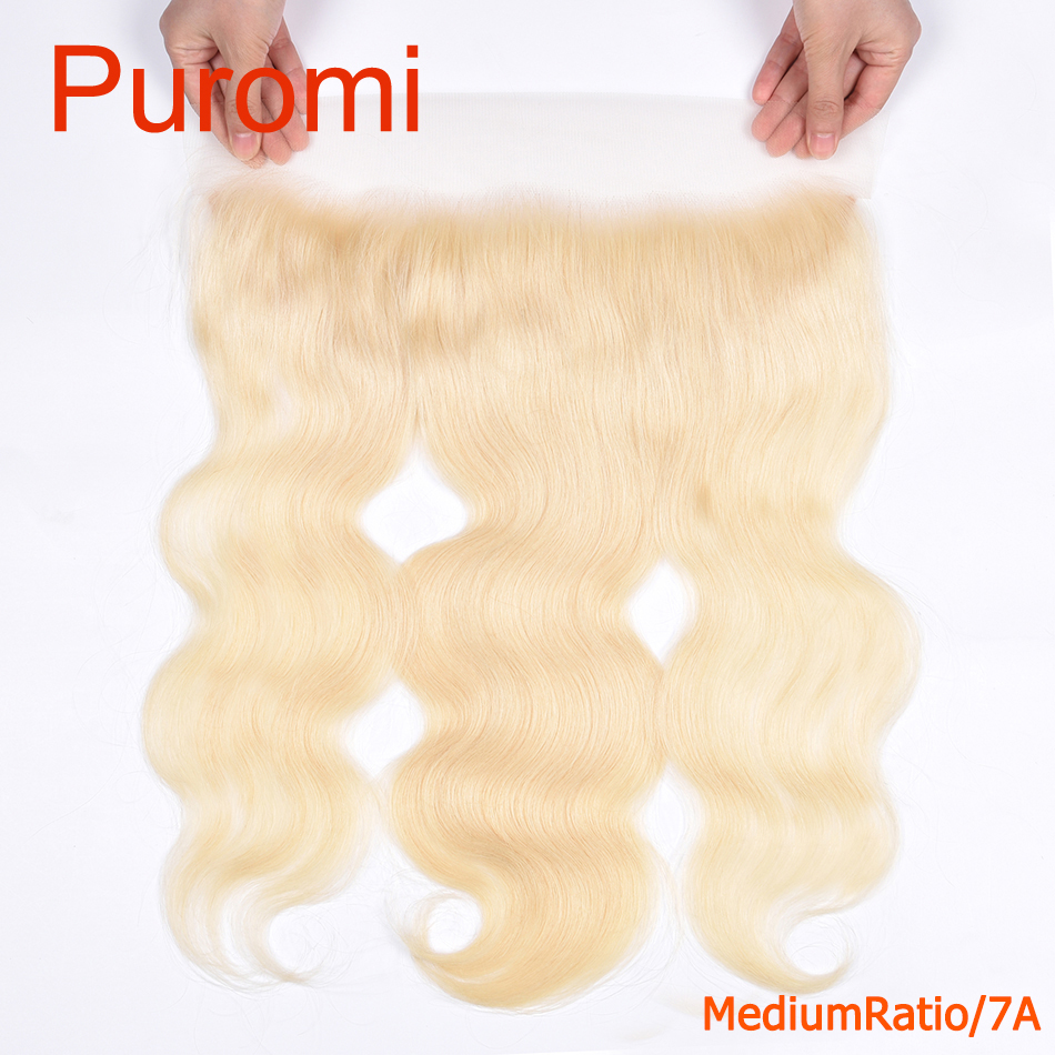 Puromi body wave 13X4 Lace Frontal Closure with Baby Hair 100% Human Hair 613# Color Middle Ratio Remy Human Hair Free Part image