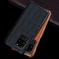 LANGSIDI Brand Crocodile Original Luxury phone case For samsung Galaxy s20 ultra plus s20+ a51 a70 a71 a80 Genuine leather cover