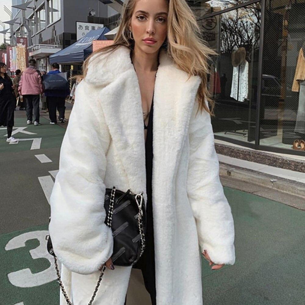 Winter Women Faux Marten Hair Fur Coat White Luxury Long Fur Coat Loose Lapel Elegant OverCoat Thick Warm Plus Size Female Plush